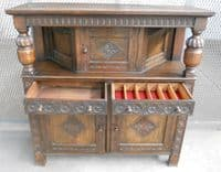 Antique Jacobean Style Heavily Carved Oak Court Cupboard - SOLD